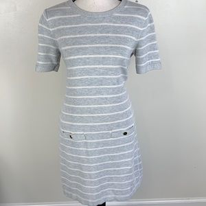 Banana Republic Gray White Stripe Sweater Dress